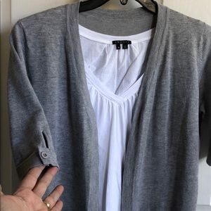 Grey short sleeve cardigan an and white tee